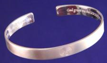 Sterling Silver Cuff Bracelet engraved with Serenity Prayer on inside