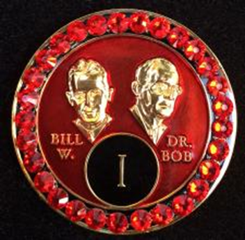 Crystallized Bill & Bob medallion